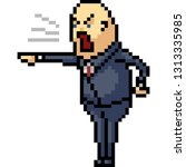 vector pixel art boss yell... | Shutterstock .eps vector #1313335985