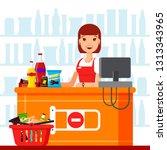 woman cashier in supermarket... | Shutterstock . vector #1313343965