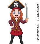 Cartoon Captain Pirate Girl...