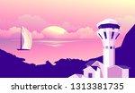 vector illustration  seascape ... | Shutterstock .eps vector #1313381735
