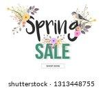 spring sale banner or poster... | Shutterstock .eps vector #1313448755