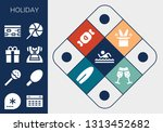 holiday icon set. 13 filled... | Shutterstock .eps vector #1313452682