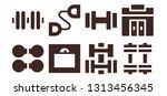 dumbbell icon set. 8 filled... | Shutterstock .eps vector #1313456345