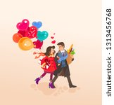 a couple of people a man and a...   Shutterstock .eps vector #1313456768