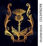 thistle flower in ornament... | Shutterstock .eps vector #1313458298