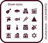 drum icon set. 16 filled drum...   Shutterstock .eps vector #1313458952