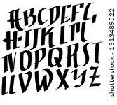 old penbrush letters. handdrawn ... | Shutterstock .eps vector #1313489522