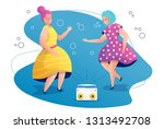 grand and daughter dancing to... | Shutterstock .eps vector #1313492708