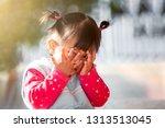 cute asian baby girl closing... | Shutterstock . vector #1313513045