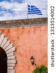 national flag of greece on the... | Shutterstock . vector #1313514002