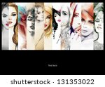 beautiful collage   faces of... | Shutterstock . vector #131353022