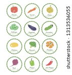 vegetable label and tag set.... | Shutterstock .eps vector #1313536055