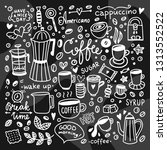 coffee cups hand drawn... | Shutterstock .eps vector #1313552522