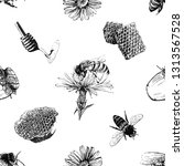 seamless pattern of hand drawn... | Shutterstock .eps vector #1313567528