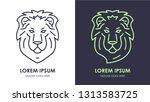 lion head logo design template. ... | Shutterstock .eps vector #1313583725