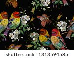 embroidery birds  butterfly and ... | Shutterstock .eps vector #1313594585