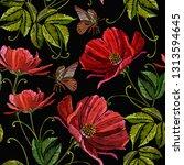 red flowers peonies seamless... | Shutterstock .eps vector #1313594645