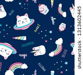 saturn cat and magical icons... | Shutterstock .eps vector #1313602445