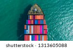 container ship arriving in port ... | Shutterstock . vector #1313605088