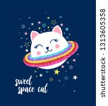 space cat  and stars... | Shutterstock .eps vector #1313605358