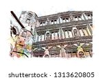 heidelberg castle is a ruin in... | Shutterstock .eps vector #1313620805