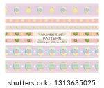 vector set of seamless border... | Shutterstock .eps vector #1313635025