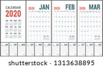 calendar 2020. english calender ...   Shutterstock .eps vector #1313638895