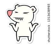 sticker of a angry polar bear... | Shutterstock .eps vector #1313638985