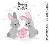 easter card with cute... | Shutterstock .eps vector #1313646302