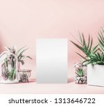 blank white sheet mock up and... | Shutterstock . vector #1313646722