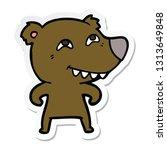 sticker of a cartoon bear... | Shutterstock .eps vector #1313649848