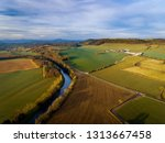 Aerial View Of The River Usk In ...