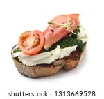 fresh tasty bruschetta on white ... | Shutterstock . vector #1313669528