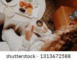 coffee in the hands of girls in ... | Shutterstock . vector #1313672588
