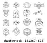 skulls  occult  owl  eye  mask  ... | Shutterstock .eps vector #1313674625