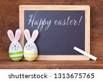 easter bunny eggs and a chalk... | Shutterstock . vector #1313675765