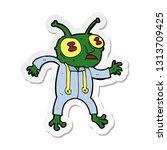 sticker of a cartoon alien... | Shutterstock .eps vector #1313709425