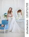 young beautiful bride with... | Shutterstock . vector #1313711735