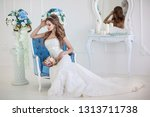 young beautiful bride with... | Shutterstock . vector #1313711738