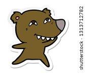 sticker of a cartoon bear... | Shutterstock .eps vector #1313712782