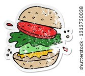 distressed sticker of a quirky... | Shutterstock .eps vector #1313730038
