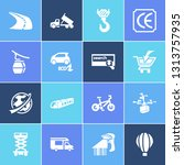 vehicle icon set and campervan...