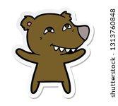 sticker of a cartoon bear... | Shutterstock .eps vector #1313760848
