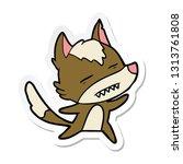 sticker of a cartoon wolf... | Shutterstock .eps vector #1313761808
