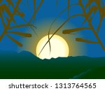 sunset or sunrise serene scene... | Shutterstock .eps vector #1313764565