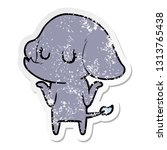 distressed sticker of a cute... | Shutterstock .eps vector #1313765438