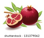 Pomegranate  Isolated Vector...