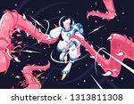 young astronaut vs dangerous... | Shutterstock .eps vector #1313811308