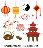 set of objects   the chinese... | Shutterstock .eps vector #131381645