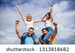 feel freedom. cheerful couples... | Shutterstock . vector #1313818682
